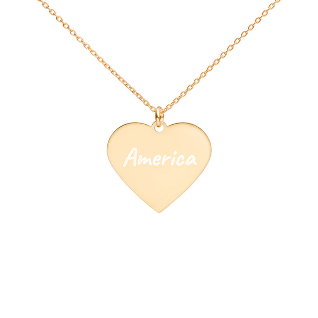 Love America Engraved Silver Heart Necklace
