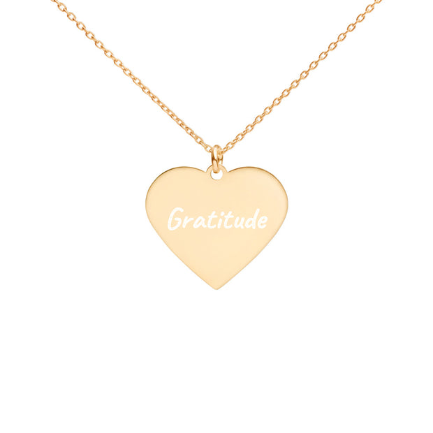 Love Gratitude Engraved Silver Heart Necklace