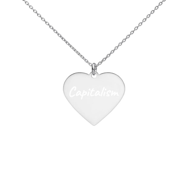 Love Capitalism Engraved Silver Heart Necklace