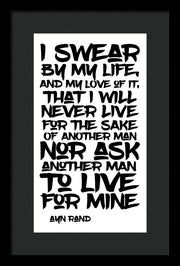 I Swear By My Life - Framed Print