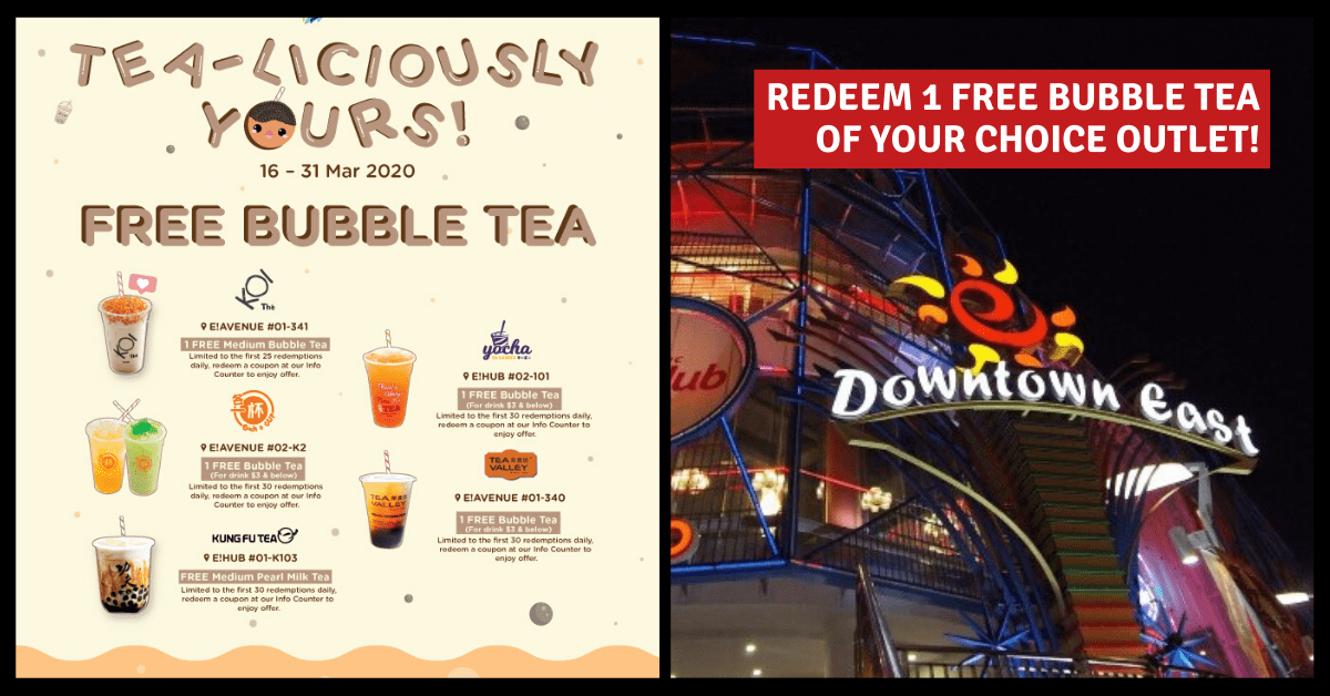 Redeem 1 Free Bubble Tea at Downtown East from 16 - 31 March | Choose from KOI, Kung Fu Tea, Each A Cup, and More!