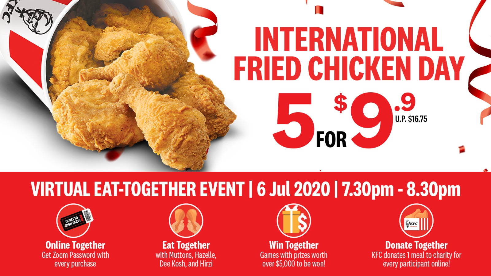 KFC Singapore's International Fried Chicken Day Virtual Eat-together | 6 July Mon, 7.30pm