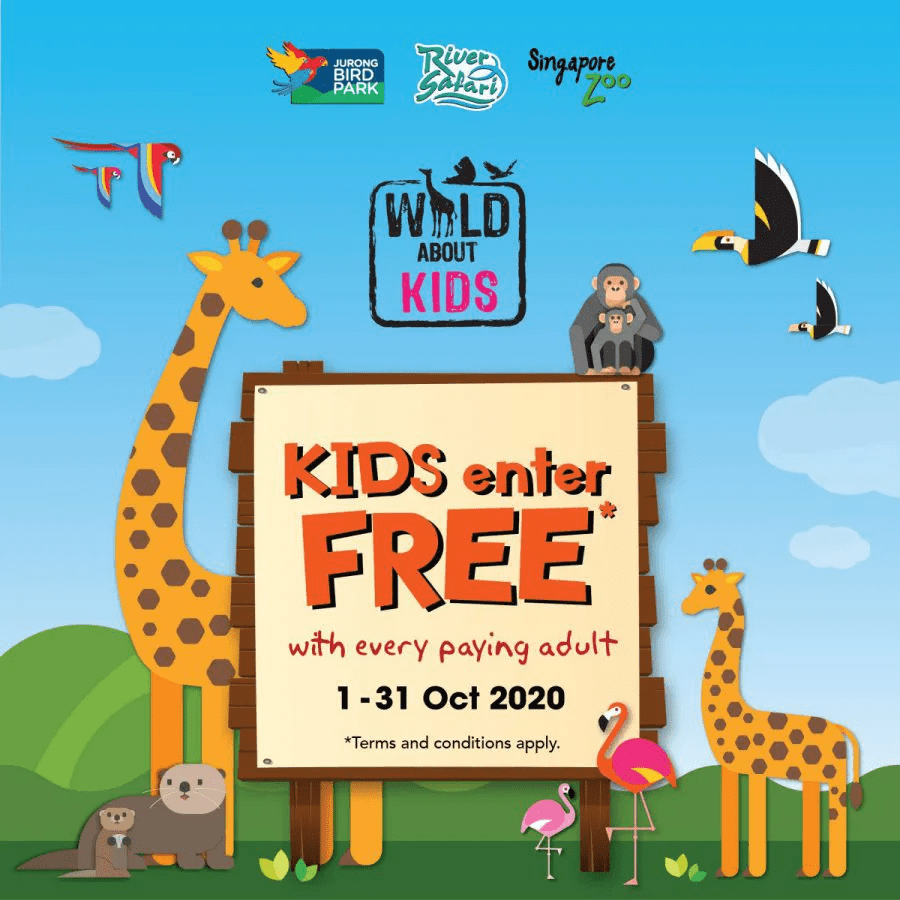 Kids Enter Free to Singapore Zoo, Bird Park & River Safari in Oct 2020!