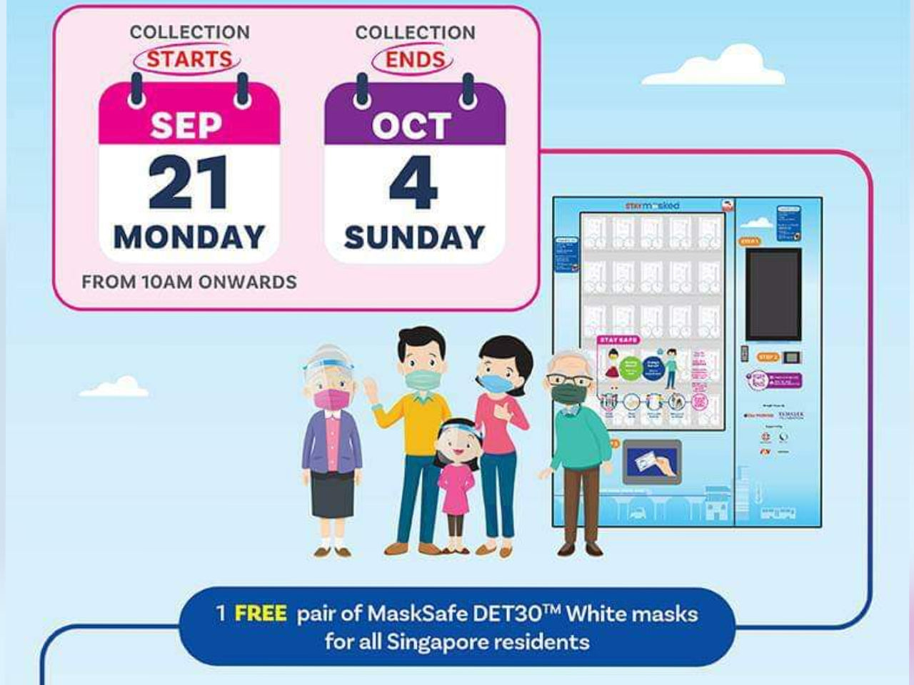 Collect 2 Free Reusable Masks For Adults and Kids | From Temasek Foundation