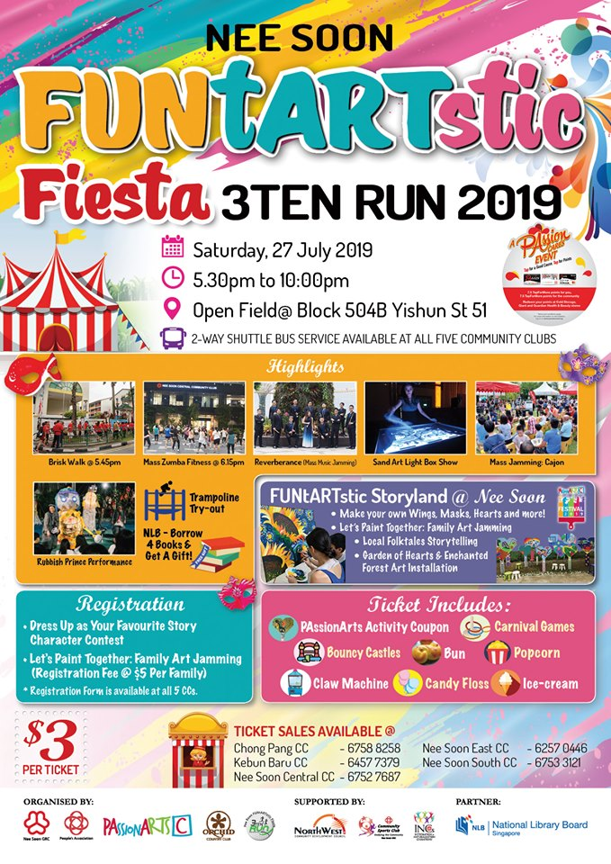 Nee Soon FUNtARTstic Fiesta 3Ten Run 2019 – An Artsy Carnival for the Family!