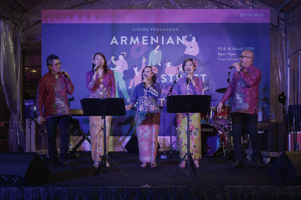 Peranakan Sayang performing as part of the Singapore Heritage Festival 2019's Armenian Street Party. Image courtesy of Singapore Heritage Festival 2019