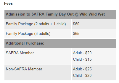 Things to do this Weekend: SAFRA Family Day Out @ Wild Wild Wet! - Fees