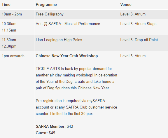 Things to do this Weekend: Celebrate Chinese New Year this Year at SAFRA with Your LOs! - Punggol
