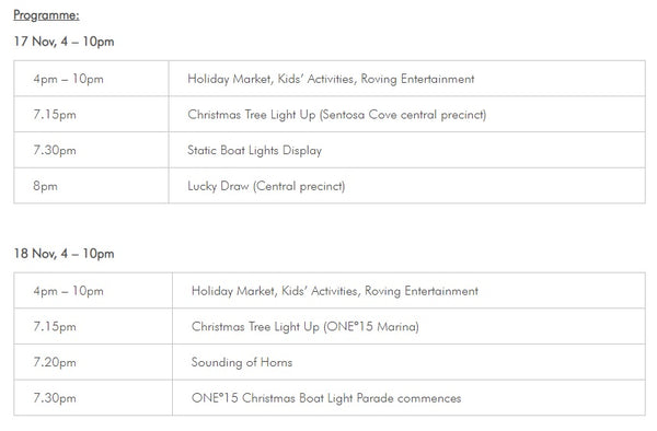 Celebrate Christmas at Sentosa Cove's Holiday Market & ONE15 Christmas Boat Light Parade™! - Program
