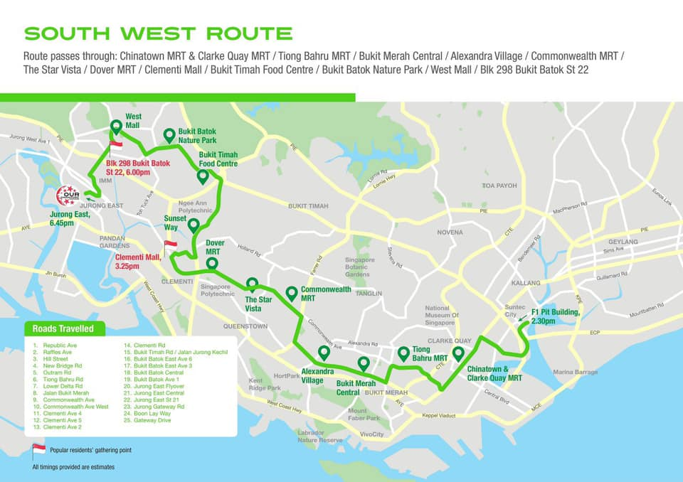 NDP 2019 Mobile Column @ Heartlands – Detailed Routes and Timings