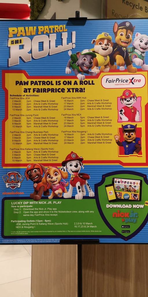 Paw Patrol at FairPrice Xtra Schedule