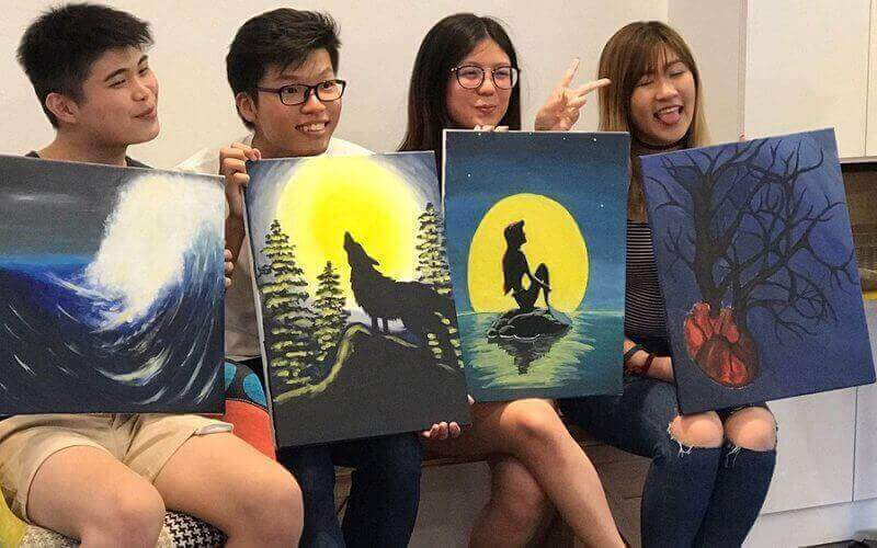 3 Hour Art Jamming Session with Free Flow Drinks for 2 Paxs @ $38 (U.P. $120) - BYKidO