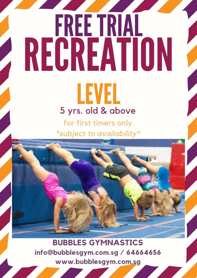 Free Recreation Trial at Bubbles Gymnastics for 5yrs and Up (Promotion)