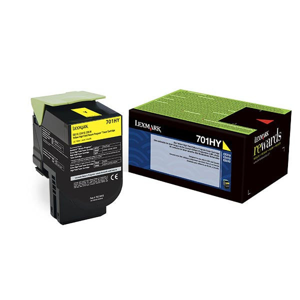 Lexmark (701HY) High Yield Yellow  Toner, 70C1HY0