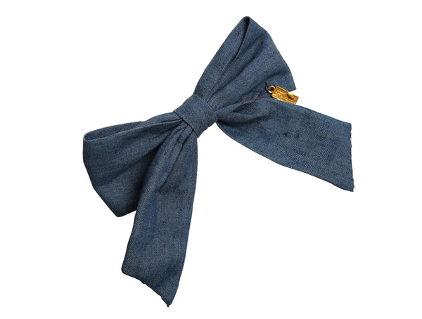 Denim Bow Clip-Medium