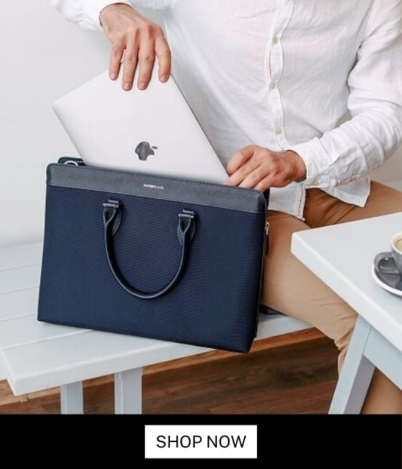 Maverick & Co. ALPHA Water-resistant leather-trimmed Briefcase