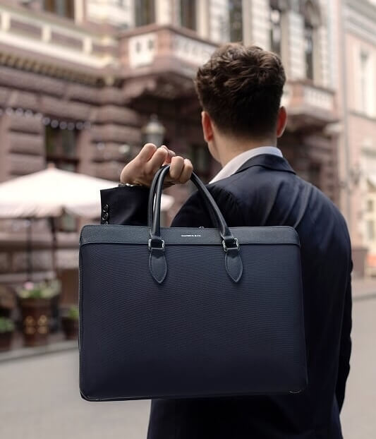 Maverick & Co. Navy Blue Alpha Leather Trimmed Slim Briefcase For Men / For Women