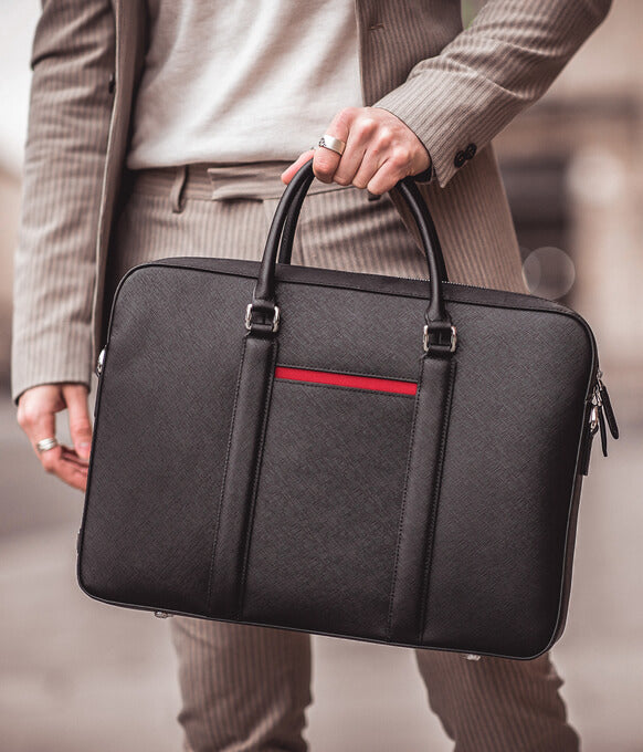 Maverick & Co. Black Manhattan Leather Briefcase For Men / For Women