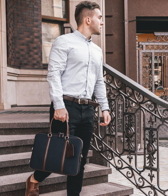 Maverick & Co. Navy Vibrant Leather-Trimmed Briefcase