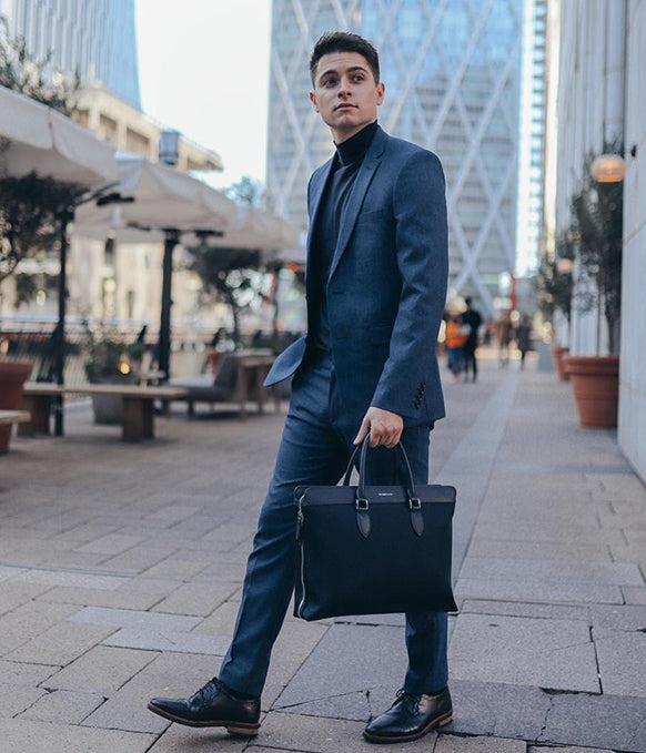 Maverick & Co. Navy Alpha Leather Trimmed Briefcase