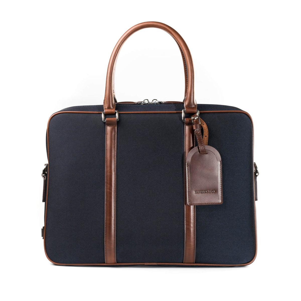 f40fc0116418 Navy Vibrant Leather-Trimmed Briefcase