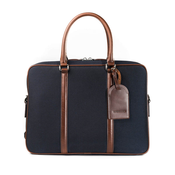 Navy Vibrant Leather-Trimmed Briefcase - Maverick & Co.
