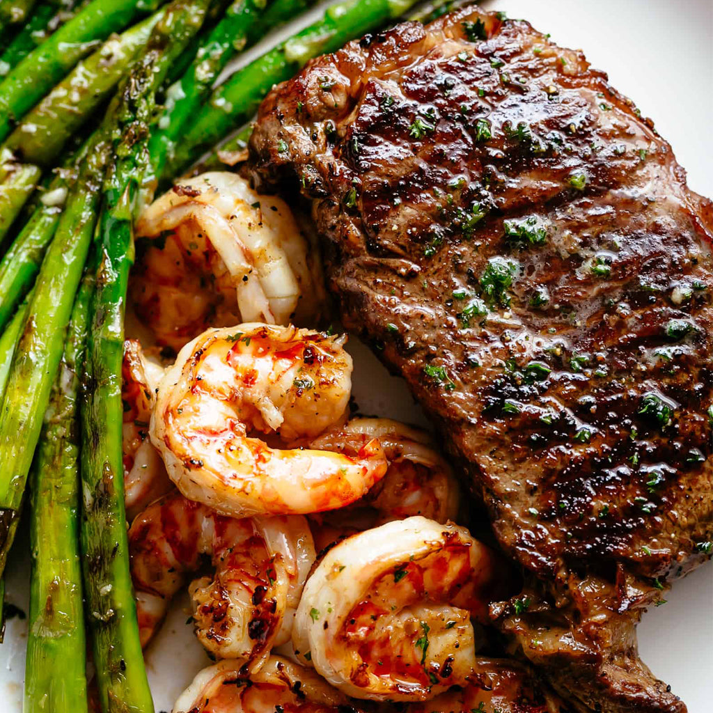 Garlic Butter Grilled Halal Steak and Shrimp