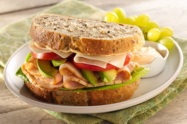 Halal Turkey Sandwich with Swiss Cheese, Tomatoes and Avocado