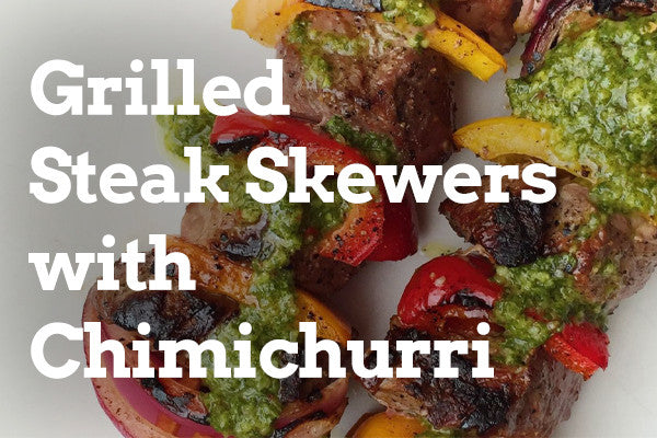 Grilled Halal Steak Skewers with Chimichurri