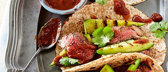 Spicy halal steak rotis with tamarind and griddled cucumber