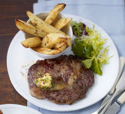 Halal Rib-eye steaks with chilli butter & homemade chips