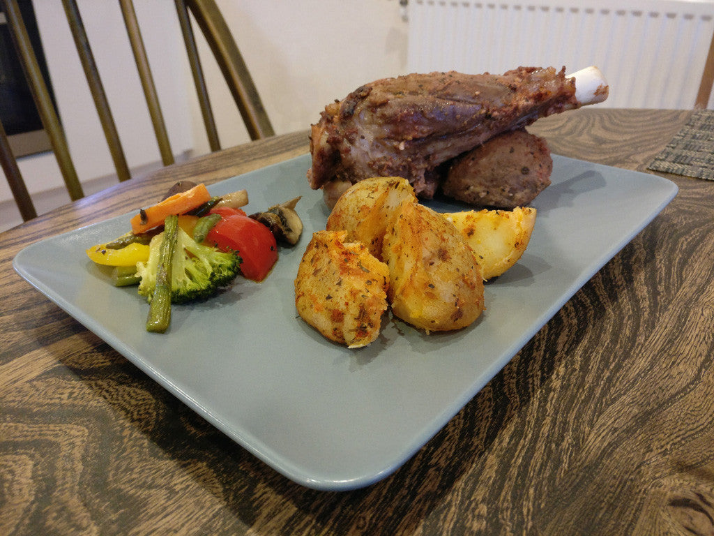 Oven cooked halal lamb shanks