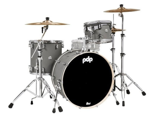 "PDP by DW PDCM24RKSP Concept Maple 24x14 ""BD, 13x9"" TT, 16x16 ""FT Satin Pewter 24"" Rock Drum Kit"