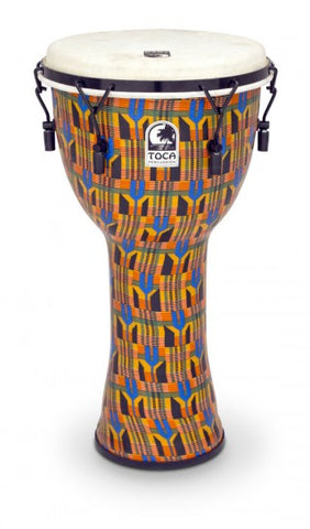 "Toca 12"" Djembe Freestyle Mechanically Tuned Kente Cloth"