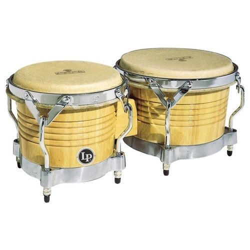 LP Matador M201-AWC Wood Bongos Natural with Chrome Hardware