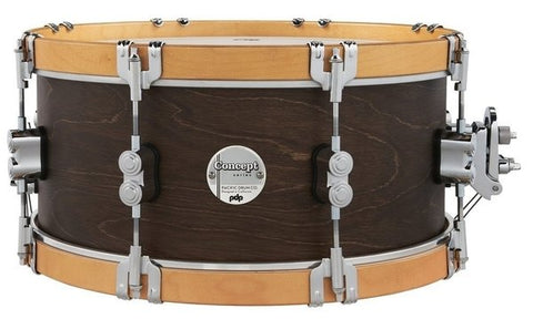 "PDP by DW PDCC6514SSWN Concept Maple 14 x 6.5"" Walnut with Natural hoops Snare Drum"