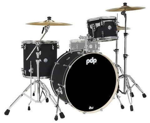 "PDP by DW PDCM24RKBK Concept Maple 24x14 ""BD, 13x9"" TT, 16x16 ""FT Satin Black 24"" Rock Drum Kit"