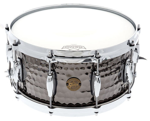 "This is a picture of a GRETSCH Full Range Snare Drum 14"" x 5"" Hammered Black Steel"