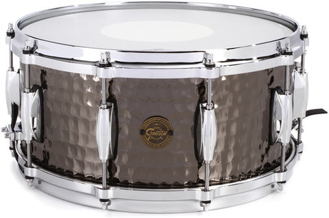"This is a picture of a GRETSCH Full Range Snare Drum 14"" x 8"" Hammered Black Steel"