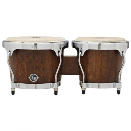 This is a picture of a LP Highline Bongos Satin Mahogany Chrome Hardware