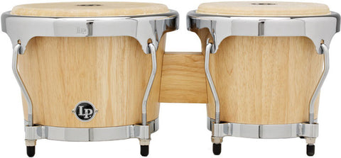 This is a picture of a LP Highline Bongos Satin Natural  Chrome Hardware
