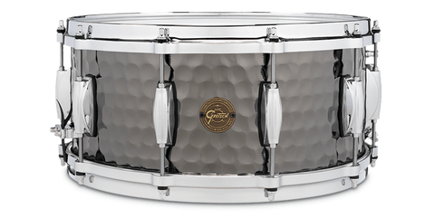"This is a picture of a GRETSCH Full Range Snare Drum 14"" x 6.5"" Hammered Black Steel"