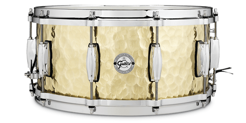 "This is a picture of a GRETSCH Full Range Snare Drum 14"" x 6.5"" Hammered Brass"
