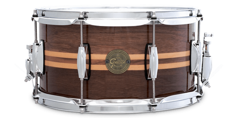 "This is a picture of a GRETSCH Full Range Snare Drum 14"" x 6.5"" Walnut Maple Inlay"