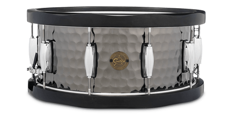 "This is a picture of a GRETSCH Full Range Snare Drum 14"" x 6.5"" Hammered Black Steel Wood Hoops"