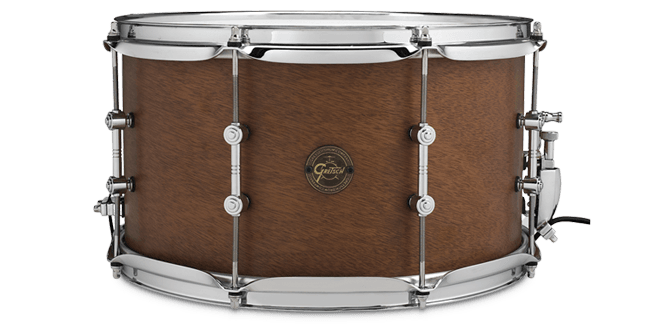 "This is a picture of a GRETSCH Full Range Snare Drum 14"" x 8"" 8-Ply Mahogany"