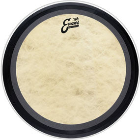 "This is a picture of a Evans 18"" EMAD Calftone Bass Drum Head"
