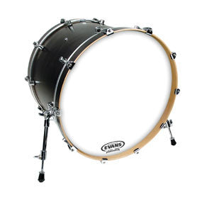 This is a picture of a Evans EQ3 Resonant Smooth White Bass Drum Head No Port 18""