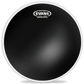 This is a picture of a Evans Black Chrome Drum Head 18""
