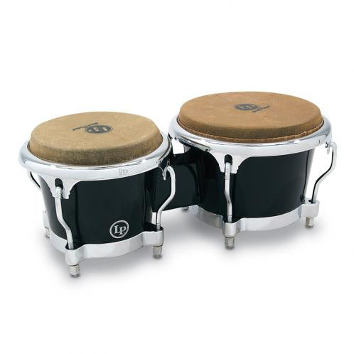 This is a picture of a LP Fiberglass Bongos Black Chrome Hardware